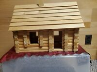 Log Cabin Dollhouse Kit, Unfinished Natural Pine, DIY Maine Made