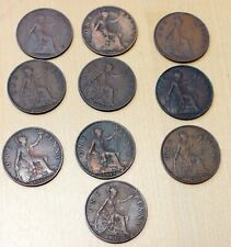 Lot of 10 Different Great Britain 1 Penny Coins 1917 - 1936 George V