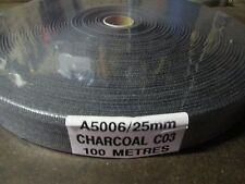 """BINDING TAPE POLYESTER 25mm 1"""" Charcoal 100 mtrs"""