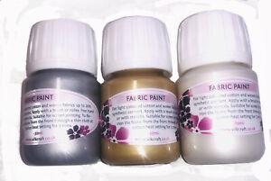 Silkcraft - Set of 3 Metallic fabric/textile paints  x 30ml bottles-HIGH QUALITY