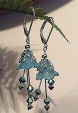 LUCITE FLOWER EARRINGS VINTAGE STYLE Blue Swarovski elements - Handmade