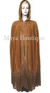 Cloak Opera Cape ANTIQUE GOLD Victorian Rep Long Velvet & Lace Lined Maya