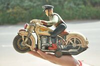 Vintage MT Trademark Litho Police Motorcycle Battery Tin Toy,Japan
