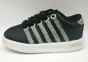 K SWISS Toddler Girls Black Sneakers With Silver Sparkle Size 5 Glitter Infants