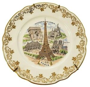 "RARE Vintage 1950's Limoges 10"" Fine Porcelain Plate Showing Paris Landmarks"