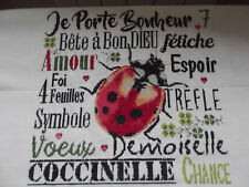 Broderie Porte bonheur coccinelle