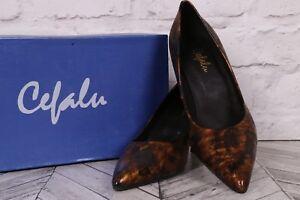 High Heel Court Pumps CEFALU Patent Leather RRP £89 Metallic Brown UK 5 EU 38