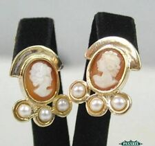 14k Yellow Gold Pearl & Cameo Earrings