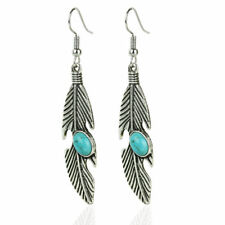 Cute New Tibetan Silver Turquoise Stone Accented Feather Dangle Drop Earrings ~