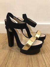 Gorgeous Women's DVF Diane Von Furstenberg Black & Gold Platform Heels UK 5.5