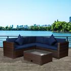 4pc Outdoor Patio Sofa Set Rattan Sectional Furniture Garden Table +navy Cushion