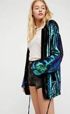 Anthropologie Free People City Lights Peacock Sequin Hooded Jacket Parka XS New