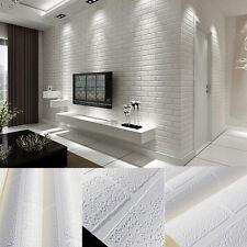 Moda Papel Pintado Pared Decoración 10M Blanco Efecto Piedra Ladrillo 3D Diseño