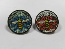 MANCHESTER WORKING BEE MOSAIC ENAMEL PIN BADGE AVAILABLE IN RED, BLUE OR A SET