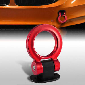 Universal Red Ring Track Racing Style Tow Hook Look Decor For Car Accessories
