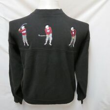 SETH ROBERTS USA EMBROIDERED CLASSIC GOLF PLAYER THICK CREW NECK SWEATER L