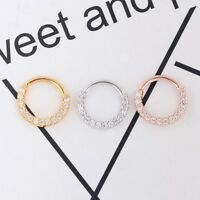 Stainless Steel Zircon Septum Clicker Hinged Segment Nose Ring Ear Tragus Hoop