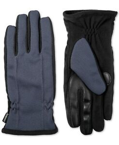 $68 Isotoner Mens Blue Black Warm Knit Touchscreen Casual Winter Gloves Size L