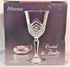 Cristal De Flandre 24% French Lead Crystal Altesse Pattern 6 OZ Wine Glasses