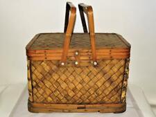 Vintage Woven Bamboo Wood Picnic Basket