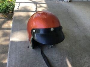 Vintage 1970's Arthur Fulmer Burnt Orange metal Flakes AF-20 Motorcycle Helmet