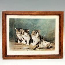 Eugène LAMBERT Chats et chatons Lithographie avec cadre ancien