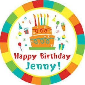 24 Personalised Happy Birthday Party Bag Sweet Cone Stickers 40mm