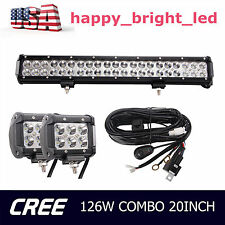 20inch 126W CREE LED Light Bar Offroad Tractor ATV UTE 4WD Truck +2X18W+Wiring