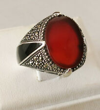NEW DESIGN Handmade Brown Agate Stone 925 Sterling Silver Men's Ring # 782