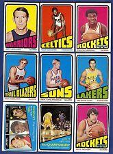 1972-73 Topps Basketball Starter Set 9 Different Cards (31-174) EX/EX-MT