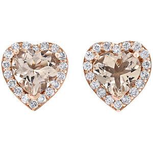 10K Rose Gold Diamond & Heart Shape Morganite Stud 8.50mm Earrings 1.50 CT. T.W.