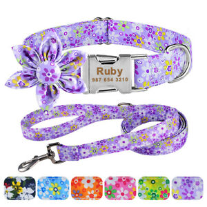 Flower Personalised Girl Dog Collar and Lead Leash for Small Medium Large Pets