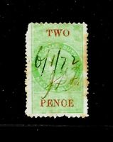 1867 New Zealand Stamp Duty, QV 2 Pence, Postal Fiscals, FU