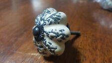 Hand-made Hand-painted Ceramic Drawer Knob - White with dark crack design - S42