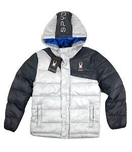 SPYDER Circuit Puffer Hoodie Jacket Boys Size M 10 - 12 Gray and Black Full Zip