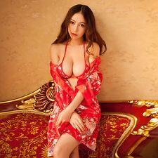 Womens Sexy Japanese Red  Cherry Kimono Lingerie Deep-V Uniform Cosplay S laps