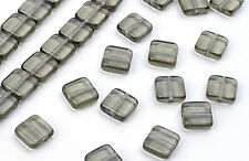 25 Black Diamond Chicklet Square Glass Beads 8MM