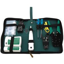 9pcs RJ45 RJ11 CAT5 Analyzer LAN Network Tool Kit Cable Tester Crimper Stripper