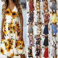 Women's Boho Floral Summer Party Evening Beach Short Mini Dress Sundress