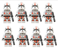 CLONE ARMY RED Lego MINIFIGURES STAR WARS CLONE TROOPERS 501ST QTY 8