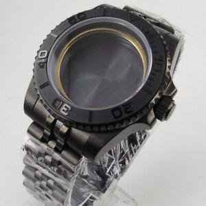 PVD Black 40mm Watch Case Jubilee Band Fit ETA 2836 MIYOTA 8215 821A DG 2813