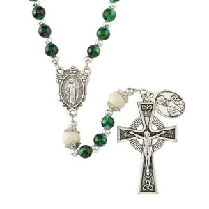 "Rosary of Saint Patrick's Green 21"" Glass 6 mm Glass"
