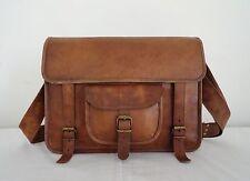 "15x11"" Real Leather Satchel Padded Messenger Bag Laptop Macbook Bag EcoFriendly"