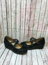 Comfortiva 'Alice' Black Suede Mary Jane Wedge Heels Women's Size 9 W