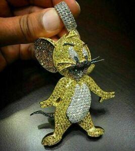 2.00 Ct Yellow Diamond Jerry Mouse Cartoon Men's Pendant 14k Yellow Gold Finish