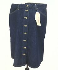 LEVI'S Jean Denim SKIRT Womens 29 Blue Button Front A LINE Sits @ Waist NWT $58