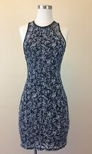 ABERCROMBIE & FITCH Junior's Navy White Lace Fitted Dress Size XS XSMALL