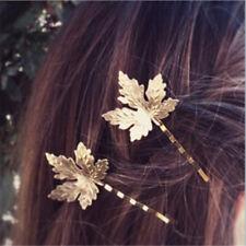 2x Mode Frauen Metall Ahornblatt Haarnadel Haarspange Clip Haar Zubehör