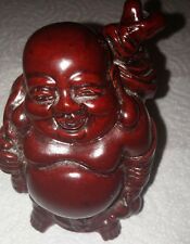 Hand Carved Laughing Buddha Oriental Chinese Red Wood figure/Statue