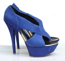 € 420 Baldinini high stiletto heel pumps shoes sandal blue platform 37.5 leather
